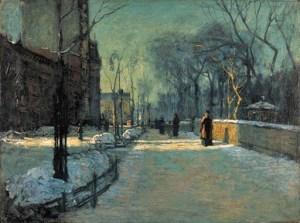 9 Paul Cornoyer (American artist, 1864-1923) Winter twilight along Central Park 1900