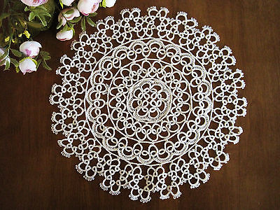 Vintage-Style-Hand-Tatting-Lace-Round-Cotton-Doily